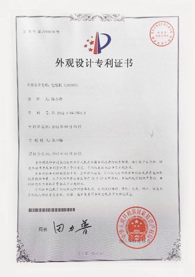300S appearance patent certificate